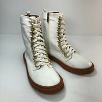 Cape Robbin Ruby White Vegan Leather Mock Lace Up Womens Combat Boots Sz 10M