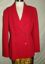 State Of Claude Montana Italy Women's Wool Double Breasted Red Blazer Jacket 6/8