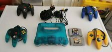 N64 console Clear Blue and 4 controllers + 2 games
