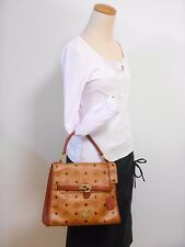 Authentic MCM Cognac Visetos Hand Bag Vintage Rare West Germany 810