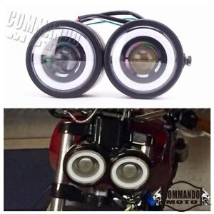 Black Twin Headlight Motorcycle Double Head Lamp Universal For Cafe Racer Bobber