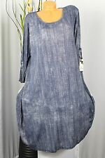 Longtunika Tunique-Robe a-rorm Turn-Up manches Beurre Doux Jeansblau gr:46, 48,50