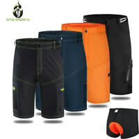 Mens Baggy Cycling Shorts MTB Mountain Bike Bicycle Shorts Loose-fit Padded Pant