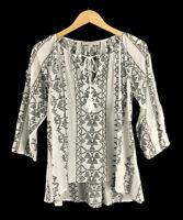 Ann Taylor LOFT Boho Top 3/4 Sleeve Blouse Peasant Black White Womens Size Small