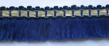 Vintage Cotton Fringe Blue w/Light Grey Chenille Accent French