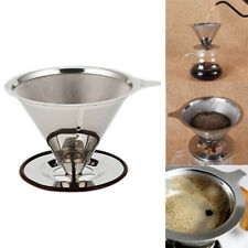 1pc Stainless Steel Pour Over Cone Dripper Reusable Coffee Filter w/ Cup Stand
