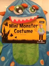 Infant Mini Monster Halloween Costume With Hood 6-12 Months Blue W/Measurement