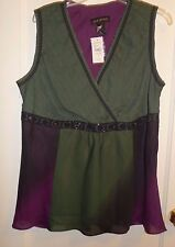 New w/ Tags Beautiful Sexy Lane Bryant Lace Bead Dark Green Black Purple Top