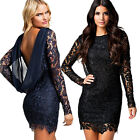 Sexy Women Lace Backless Clubwear Cocktail Evening Party Slim Bodycon Mini Dress