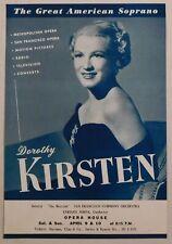 Dorothy Kirsten rare classical handbill Sf Opera House April 9 vocal soprano