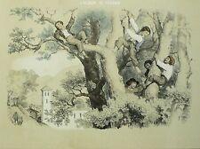 Fortune Ferogio-kletternde garçonnets-tonlithografie avec pochoir 1844