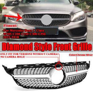 Front Bumper Grille For Mercedes Benz C Class W205 C200 C250 C300 C350 AMG