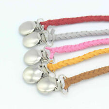 Leather Braided Suede Dummy Pacifier Clip Chain Baby Feeding Soother Holder Gift