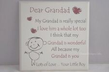 Plaque Dear Grandad is Really Special Your Little Boy Wood Cream 20cm F1105D