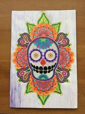 Coloring Page Art Sugar Skull Coloring Pages Embroidery Art Wall Decor -Handmade