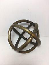 """Open Brass Metal Orb Sphere Art Sculpture Gold Decor Home Office 6.75"""""""