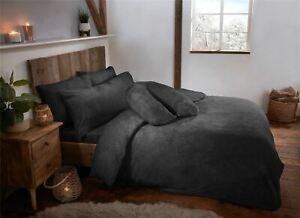 Charcoal Grey Teddy Fleece Fur Soft Cosy Duvet Quilt Cover Set Inc Pillowcases
