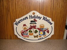 Longaberger Carol Berry Christmas Sign - Gingerbread Boy and Girl and Snowman