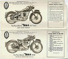 7 Different Pieces of BSA Motorcycle Advertising c1949 * Rich Child Cycle Co  NY
