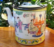 Antique Chinese export yellow teapot,late Qing dynasty.Character signed.