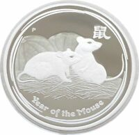 2008 Australia Perth Mint Lunar Mouse $2 Two Dollar Silver Proof 2oz Coin