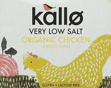 Kallo Organic Very Low Salt Organic Chicken 6 Stock Cubes - 48g (Pack of 15)