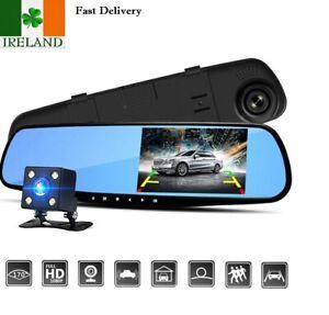 Dual Lens Car Camera Video Recorder  DVR Dash Cam 1080P Rearview Mirror Black