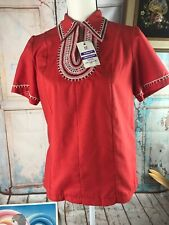 Vtg 60s Nos Deadstock Red Yemenite Embroidered Wool Blend Ss Top Small