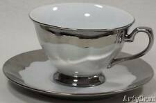Ciroa Luxe Cup and Saucer SILVER RIPPLE in Original Package