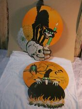 Vintage Halloween Beistle Diecut Cut out Decoration witch skull black cat