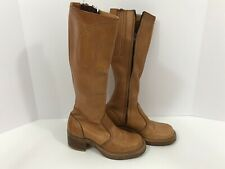 Vintage Womens Bort Carleton Brown Leather Western Riding Boho Campus Boots Sz 5