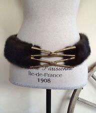 """Mink Fur Belt Vintage 50's Brown Lined w/ Heavy Goldtone Buckle Adjustable 38"""" L"""
