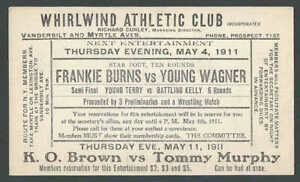 1911 Fighting Sports Boxing Card Announces Fights Of K O Brown Vs Tommy See Info