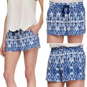 Joie Women's Blue Ikat Silk Layana Drawstring Shorts W/Pockets Sz Large