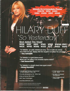 HILARY DUFF Yesterday & WILSHIRE Special RARE PROMO TRADE AD Poster for 2003 CD