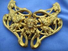 Boucle de ceinture ancienne (1900) art nouveau laiton doré