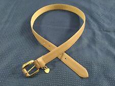Worthington Genuine Leather Brass Buckle Tan Design Belt  Fits Waists 30 thru 34