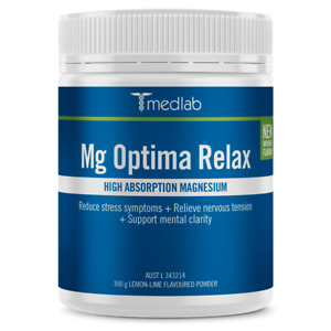Medlab Mg Optima Relax 300g Lemon Lime Supports Natural Metabolic Pathways