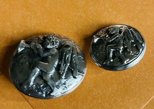 Ex rare vintage HAUTE COUTURE Silver Plated CUPID BLOWING HORN Buttons back mark