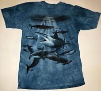 Shark Collage Blue Ocean Fish Aquatic Sharks Tank T-Shirt Mountain Animal L-3X