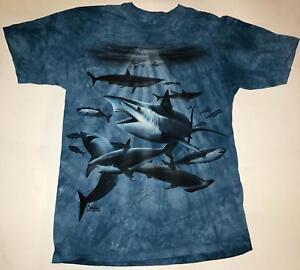 Shark Collage Blue Ocean Fish Aquatic Sharks Tank T-Shirt Mountain Animal XL-3X