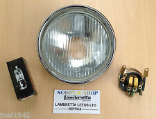 LAMBRETTA LI  SERIES 3 HEADLIGHT - HEAD LAMP - BULB HOLDER- HALOGEN BULB - NEW