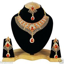 New Bollywood Style Gold Plated Party wear Kundan Zerconic Designer Necklace Set