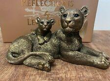 More details for reflections bronze colour lioness & cub statue by leonardo - lioness ornament