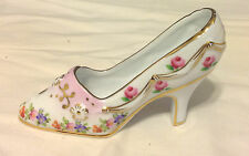 Porcelain Shoe By Royal Paris Levi Pink Roses Gold Trim High Heel Ec vtm