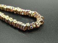 18 Preciosa Czech Rhinestone Squaredelles 4mm Crystal AB Gold Plated