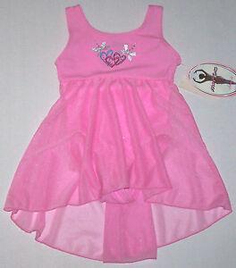 Nwt New Moret Leotard Dress Skirt Skirtall Heart Shimmer Tank Babydoll Pink Girl