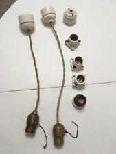 Lot Of 7 Porcelain-Ceramic & Brass Knob&Tube Ceiling Lights-Rose & Pendants-Read