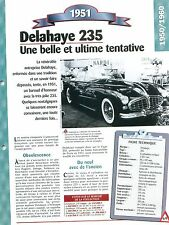 Delahaye 235 1951 France Car Auto FICHE FRANCE