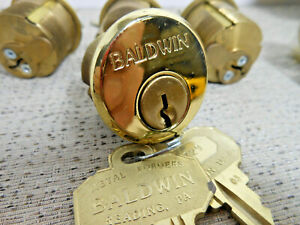 "Baldwin 1 1/8"" Dia. Mortise Lock Cylinder / Keys, Polished Brass / Keyed Alike"